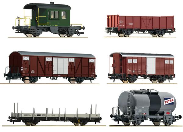 Roco 76051 - Swiss 6 piece goods wagon set Gotthardbahn of the SBB