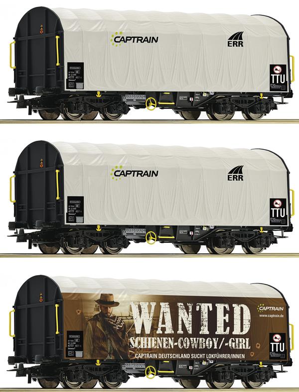 Roco 76054 - 3 piece set: Slide Tarpaul Wagons, Captrain