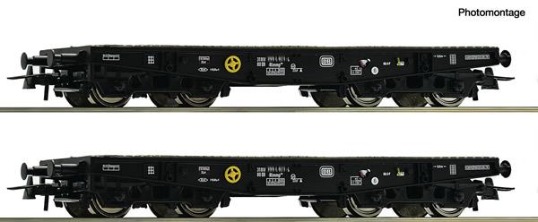 Roco 76080 - German Heavy duty flat wagon Set of the DB