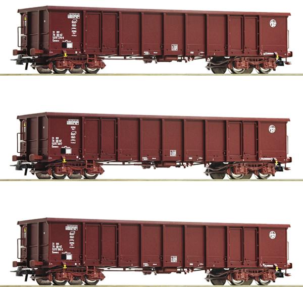 Roco 76091 - 3 piece set: Gondolas, HZ Cargo