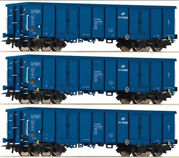 Roco 76128 - 3 piece set: Open goods wagons, PKP Cargo