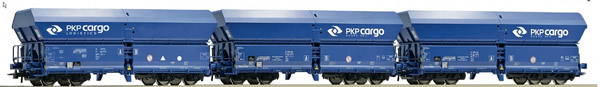 Roco 76133 - 3 piece set: Self-unloading hopper wagons, PKP Cargo