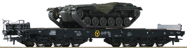 Roco 76161 - German 2 Piece HeavyDuty Flat Wagon with M48 of the DB