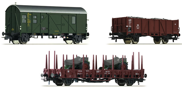 Roco 76166 - German 3 Piece Freight Car Set Höllental #1 of the DB