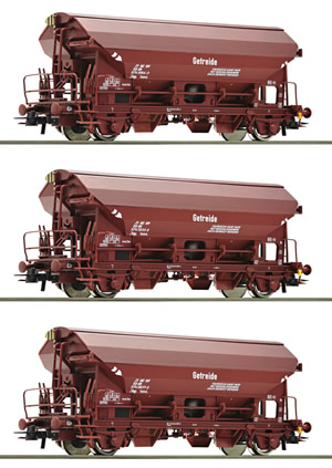 Roco 76174 - German 3 Piece Pitched Roof Freight Car Set of the DR