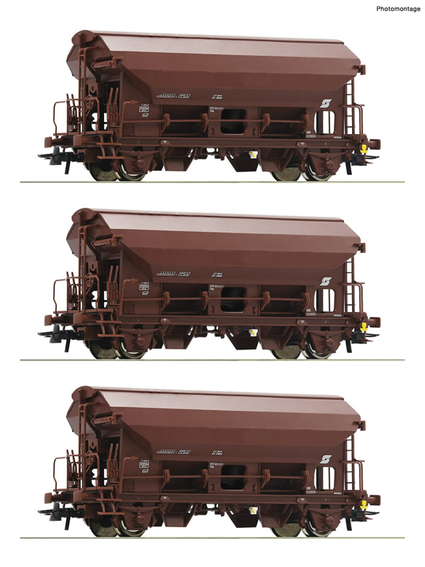 Roco 76180 - 3 piece set: Swing roof wagons