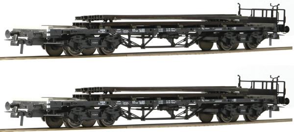 Roco 76194 - 2pc Stake Car Set with Rail Loads