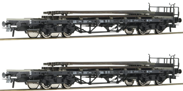 Roco 76195 - 2pc Freight Car Set with Railroad Tracks and Rail Loading