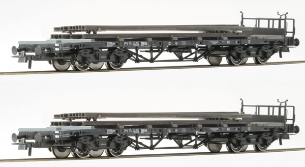 Roco 76196 - 2pc Freight Car Set with Rail Loads