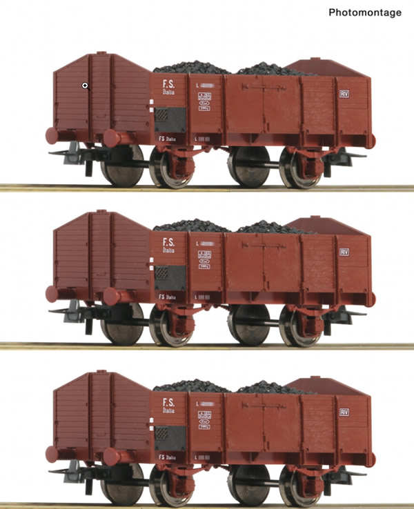 Roco 76199 - 3 piece set: Open goods wagons, FS