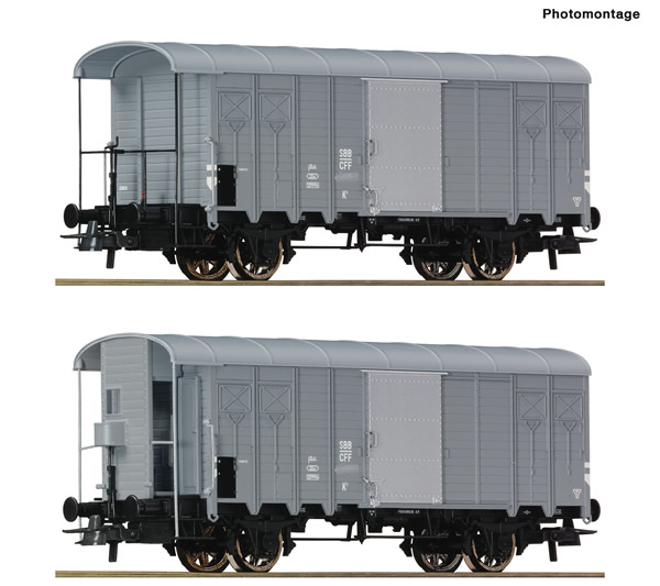 Roco 76646 - 2 piece set: Covered goods wagons