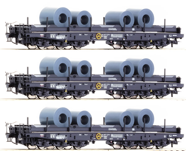 Roco 76957 - 3pc Heavy Duty Freight Car with Steel Coal Loads