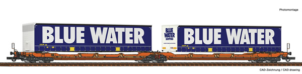 Roco 77387 - Articulated double pocket wagon T3000e + Blue Water