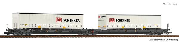 Roco 77390 - Articulated double pocket wagon T3000e + DB Schenker Trailer
