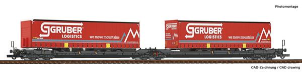 Roco 77397 - Articulated double pocket wagon T3000e + Gruber Logistics