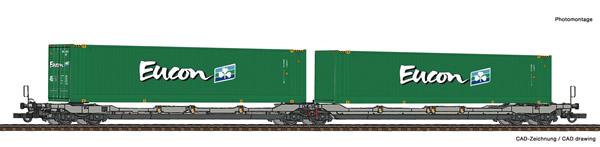 Roco 77398 - Articulated double pocket wagon T3000e + Eucon Container