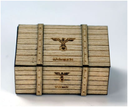 RSM 87001 - 1/72 or 1/87 Scale Wooden German Military Crates, 2 per pack.