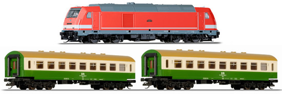 Tillig 01436 - German Starter Set with Diesel Locomotive & Passenger Cars of the DR