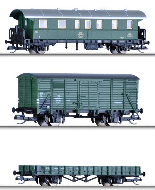 Tillig 01664 - Freight Car Set Bauzug of the DB