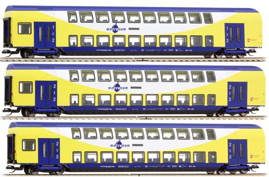 Tillig 01665 - 3pc Metronom Double Decker Passenger Car Set