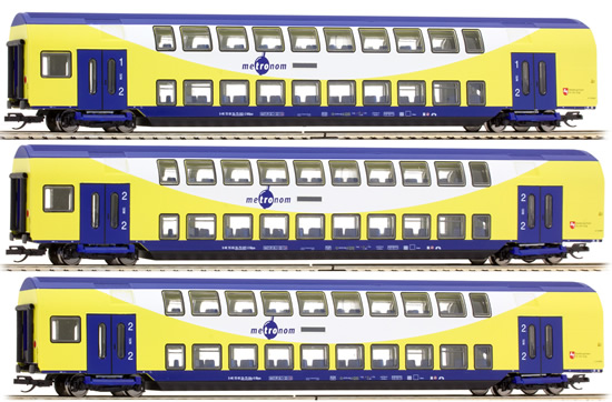 Tillig 01665 - 3pc Metronom Double Decker Passenger Car Set