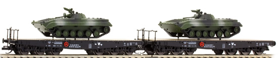 Tillig 01676 - 2pc Freight Car Set - Flat Car loaded with Tanks