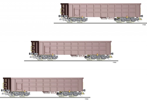 Tillig 01677 - 3pc Freight Car Set of the DB AG