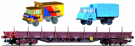 Tillig 18106 - Low Side Wagon of the DR with Truck Loads