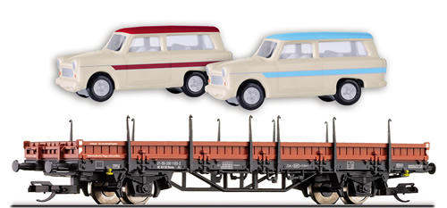 Tillig 501221 - DR Stake Car with two Trabant Vehicles