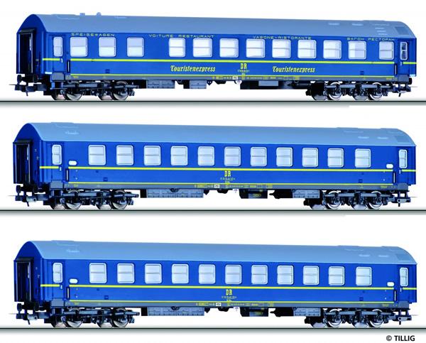 Tillig 70024 - 3pc Passenger Coach Set type Y Tourex