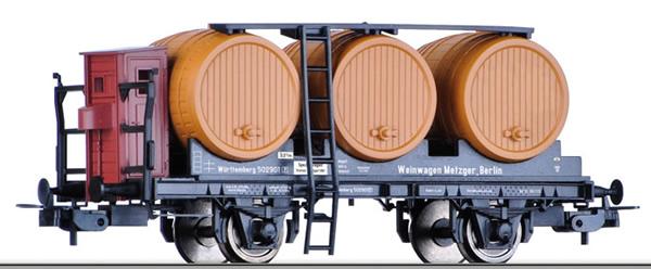 Tillig 76733 - Wine Barrel Wagon with Brakemans platform