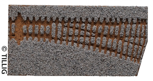 Tillig 86563 - Light grey bedding straight points EW2, 15°. right branch (85321)