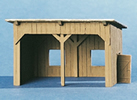 Open wooden shed