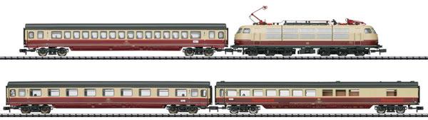 """Trix 11628 - German """"Rheingold TEE 7"""" Train Set of the DB"""