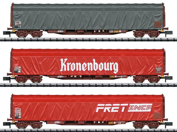 Trix 15115 - French Sliding Tarp Car Set of the SNCF