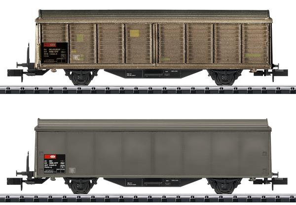 Trix 15307 - SBB Type Hbis-v Sliding Wall Boxcar Set