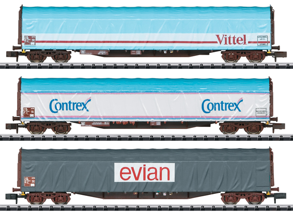 Trix 15375 - SNCF Mineral Water Transport Sliding Tarp Car Set