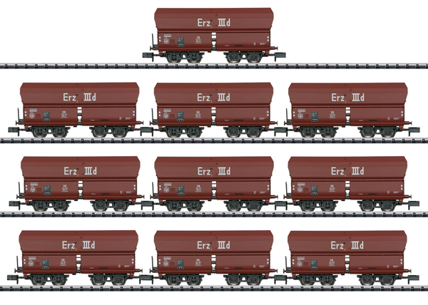 Trix 15458 - German Display with 10 Type Erz IIId Hopper Cars