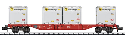 Trix 15531 - DB Container Flat Car with 4 type XS WoodTainers