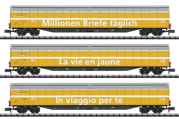 Trix 15799 - 3pc High-Capacity Sliding Wall Car Set Swiss Post Inc
