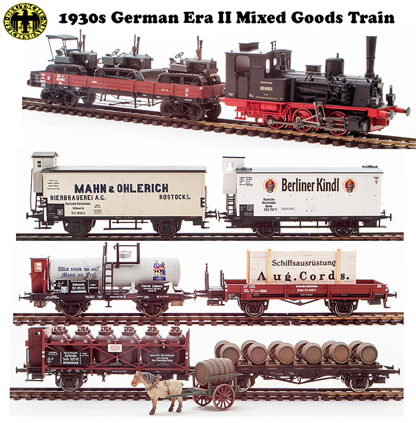 Trix 213441 - 1930s German Era II Mixed Goods Train