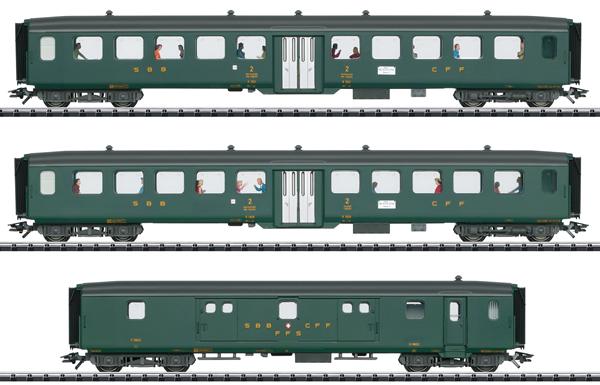 Trix 23133 - 3pc Express Passenger Train Set 2 D96 Isar-Rhone - INSIDER MODEL