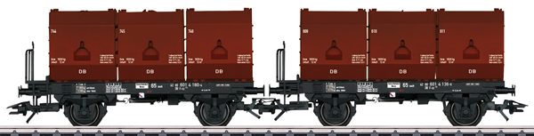Trix 24177 - German 3 Tubs Coking Coal Tub Transport Car Set of the DB