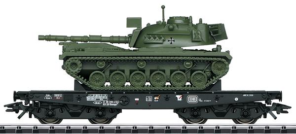 Trix 24214 - DB Type Rlmmps Heavy-Duty Flat Car w/ M 48 Combat Tank, Era IV