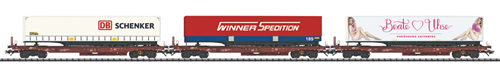 Trix 24548 - German Freight Car Set (3cars) of the DB AG