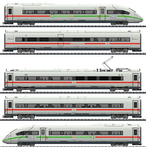Trix 25976 - Dgtl Class 412/812 ICE 4 Pwrd Railcar Train, Green Stripe, DB AG