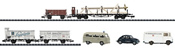 4-Cars and 3 Vehicles Freight Set