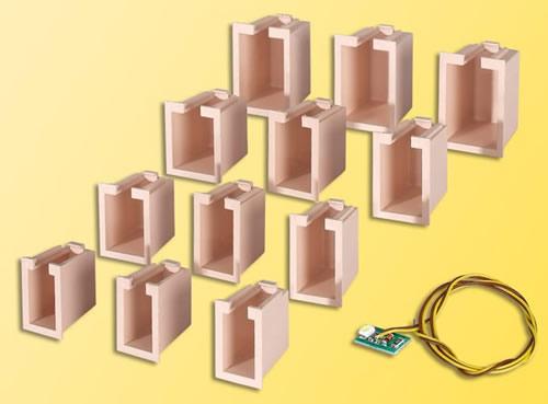 Viessmann 6005 - House illumination starter set, 12 boxes,4 different sizes, 1 LED white