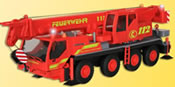 H0 Fire brigade crane truck with 3 flashing blue lights, functional model