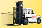 KALMAR forklifts with headlights and moving mast, functional model